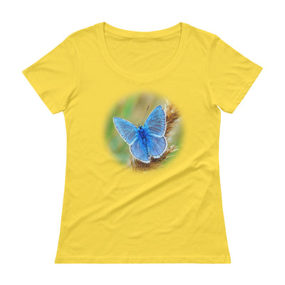 Blue Butterfly 2 – Anvil 391 Ladies Sheer Scoopneck T-Shirt with Tear Away Label