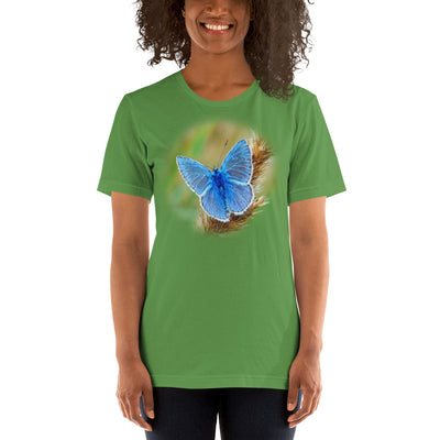 Blue Butterfly 2 – Bella + Canvas 3001 Unisex Short Sleeve Jersey T-Shirt with Tear Away Label