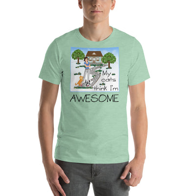My cats think I'm awesome – Bella + Canvas 3001 Unisex Short Sleeve Jersey T-Shirt with Tear Away Label