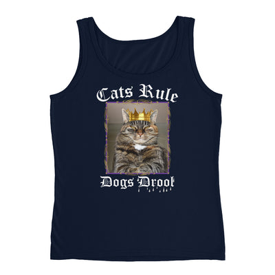 Cats Rule Dogs Drool – Anvil 882L Ladies Missy Fit Ringspun Tank Top with Tear Away Label
