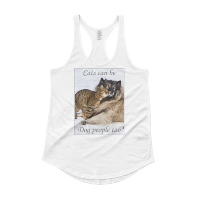 Cats can be dog people to – Alternative 4031 Satin Jersey Ladies' Racerback Tank