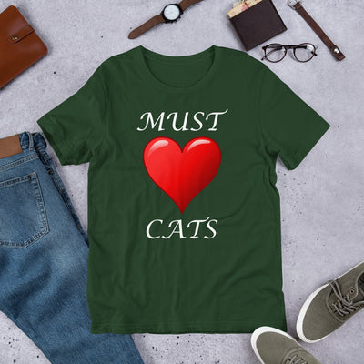 Must love cats – Bella + Canvas 3001 Unisex Short Sleeve Jersey T-Shirt with Tear Away Label