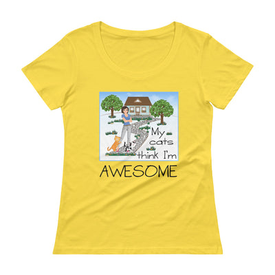 My cats think I'm awesome – Anvil 391 Ladies Sheer Scoopneck T-Shirt with Tear Away Label