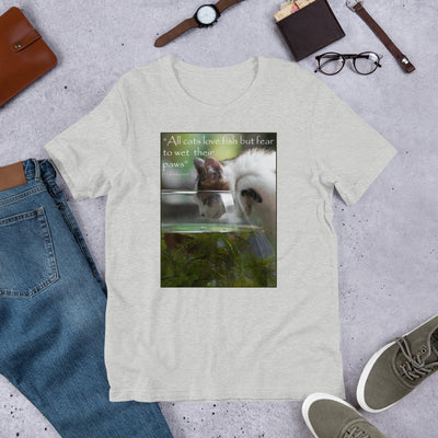 All cats love fish but fear to wet their paws – Bella + Canvas 3001 Unisex Short Sleeve Jersey T-Shirt with Tear Away Label