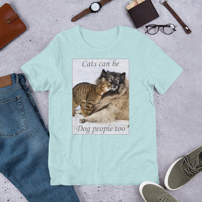 Cats can be dog people too – Bella + Canvas 3001 Unisex Short Sleeve Jersey T-Shirt with Tear Away Label