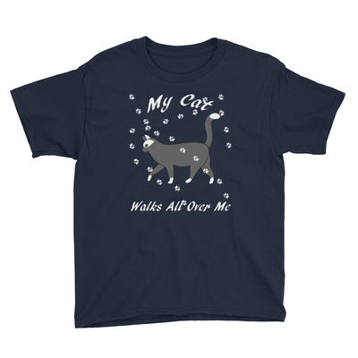 My cat walks all over me – Anvil 990B Youth Lightweight Fashion T-Shirt with Tear Away Label