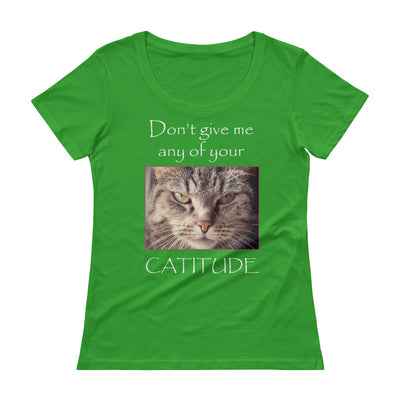 Cattitude – Anvil 391 Ladies Sheer Scoopneck T-Shirt with Tear Away Label