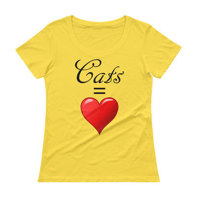 Cats = love – Anvil 391 Ladies Sheer Scoopneck T-Shirt with Tear Away Label