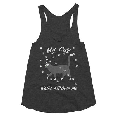 My cat walks all over me – American Apparel TR308W Women's Tri-Blend Racerback Tank