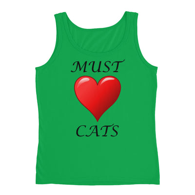 Must love cats – Anvil 882L Ladies Missy Fit Ringspun Tank Top with Tear Away Label