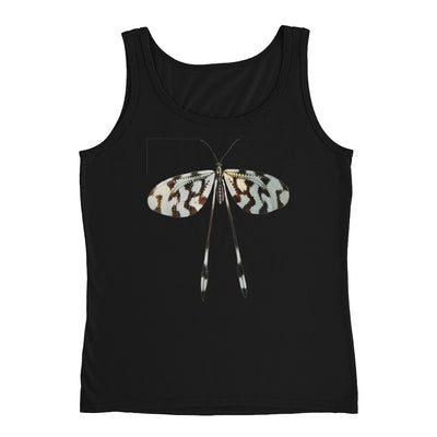 Black White Long Tail Butterfly – Anvil 882L Ladies Missy Fit Ringspun Tank Top with Tear Away Label