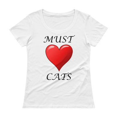 Must love cats – Anvil 391 Ladies Sheer Scoopneck T-Shirt with Tear Away Label