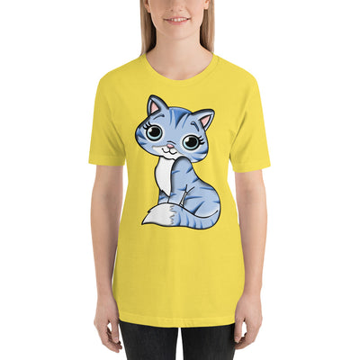 Blue Cat – Bella + Canvas 3001 Unisex Short Sleeve Jersey T-Shirt with Tear Away Label