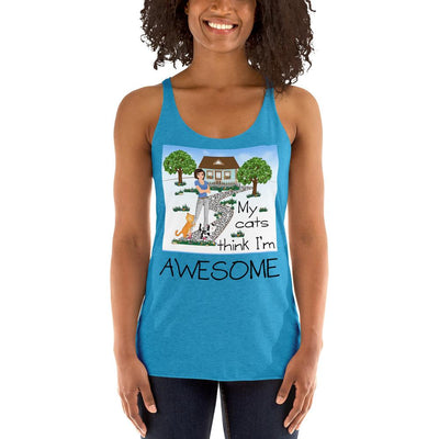 My Cats Think I'm Awesome – Next Level 6733 Ladies' Tri-Blend Racerback Tank Top