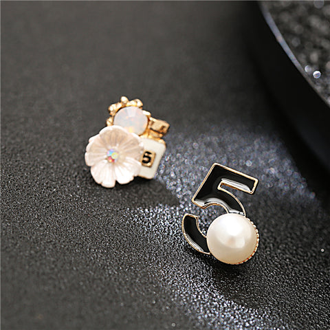 Marylin Manson Lucky Number 5 White Camellia Pearl Earrings