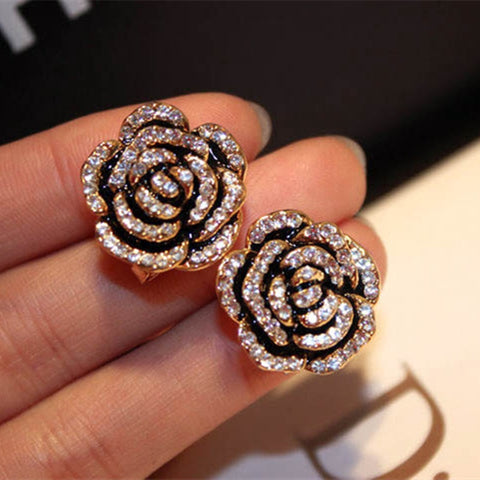 10k Sterling Fancy Rose Stud Earrings
