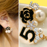 Ambet Fadil Floral Lucky No.5 Pearl Stud Earrings