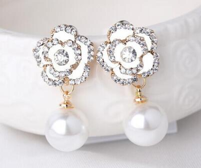 Bree Van Hamp Diamond Stud Pearl Drop Earrings