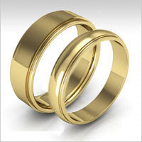 10K yellow gold stepped edge wedding bands