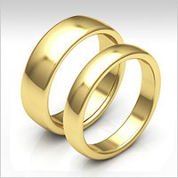 10K yellow gold low dome wedding bands