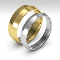 10K gold knife edge wedding bands