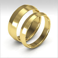 10K yellow gold knife edge wedding bands