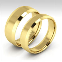 10K yellow gold beveled edge wedding bands