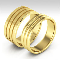 10K yellow gold riggedwedding bands