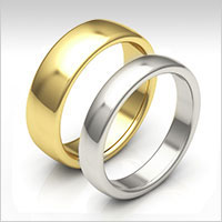 10K gold low dome wedding bands
