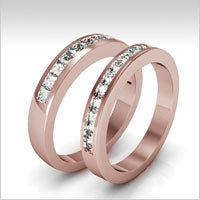 14k rose gold diamond bands