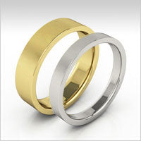 10K gold flat wedding bands