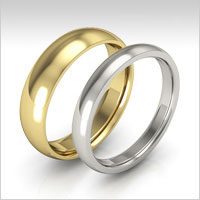 10K gold half round wedding bands