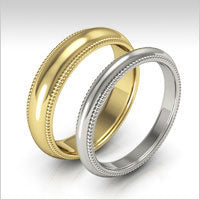 10K gold milgrain wedding bands