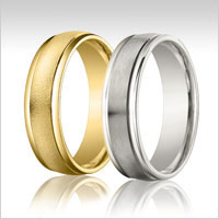 10K gold raised edge wedding bands