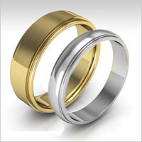 10K gold stepped edge wedding bands