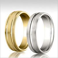 10K gold grooved wedding bands