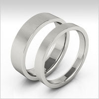 10K white gold flat wedding bands
