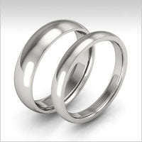 10K white gold half round wedding bands