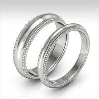 10K white gold milgrain wedding bands