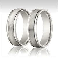 10K white gold raised edge wedding bands