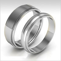 10K white gold stepped edge wedding bands