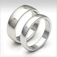 10K white gold low dome wedding bands