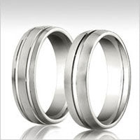 10K white gold grooved wedding bands