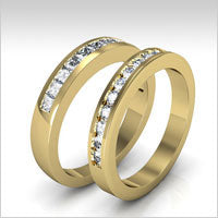 10K yellow gold diamond wedding bands