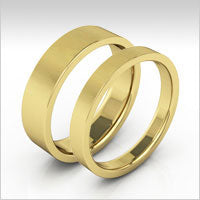 10K yellow gold flat wedding bands