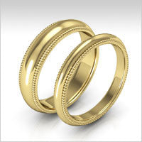 10K yellow gold milgrain wedding bands