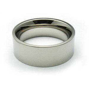 Titanium 8mm flat comfort fit wedding bands