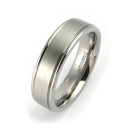 Titanium 6mm raised edge brushed center comfort fit wedding bands