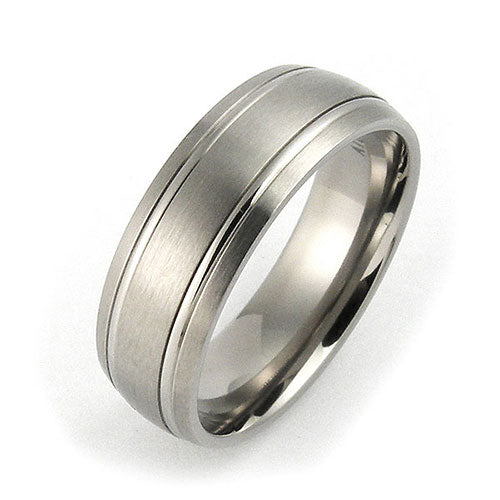 Titanium 7mm grooved comfort fit wedding bands