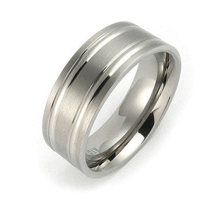 Titanium 8mm grooved comfort fit wedding bands